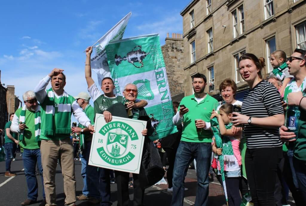 Hibernian fans including 91-year-old in Leith Walk