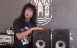 Joey Belladonna of heavy metal band Anthrax with Tannoy speakers