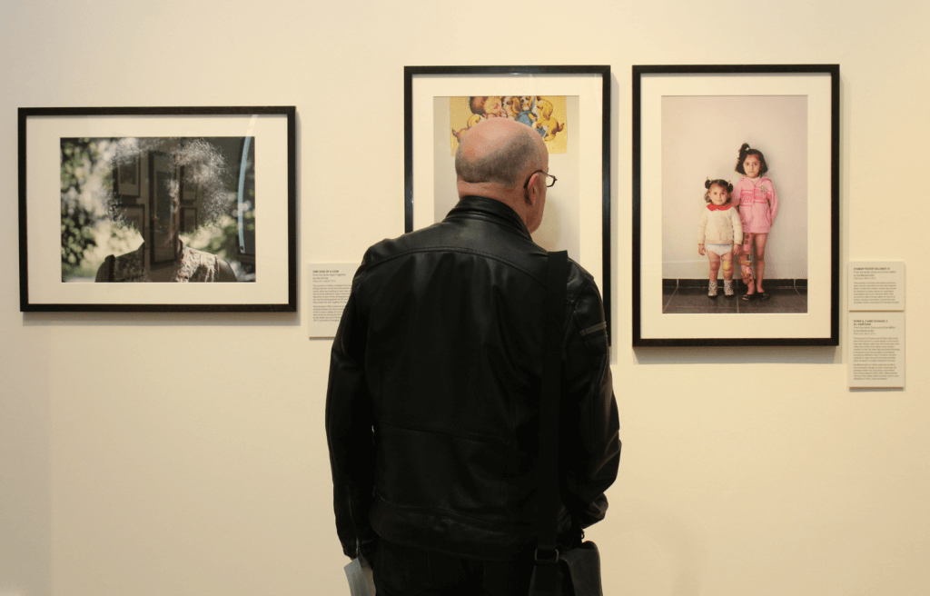 A visitor at the exhibition (by Terry Murden)