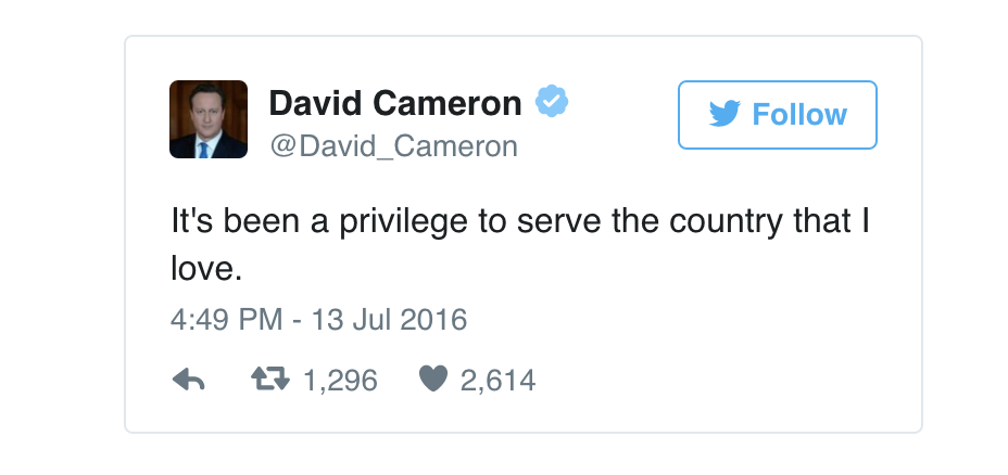 Probably Mr Cameron's final tweet as PM