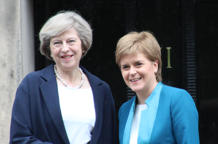 Theresa May and Nicola Sturgeon on the steps at Bute House (pic: by Terry Murden)