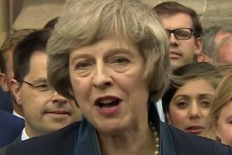 Theresa May speaks outside the Commons after being confirmed as PM (BBC)