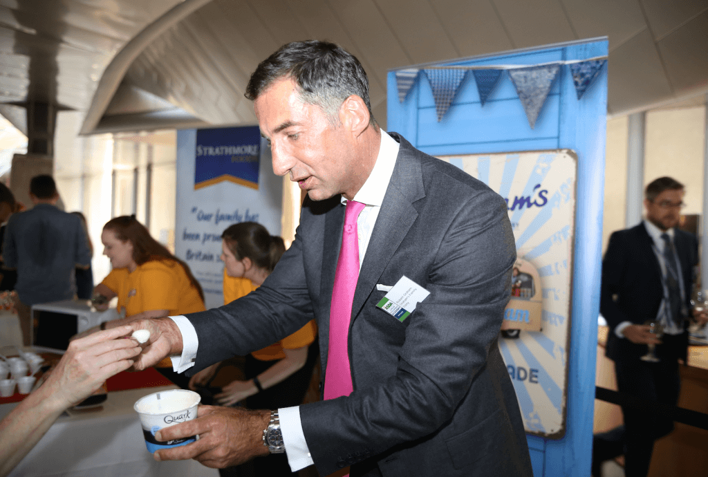 Robert Graham, head of Grahams the family dairy, manned the firms stall photo by Terry Murden)