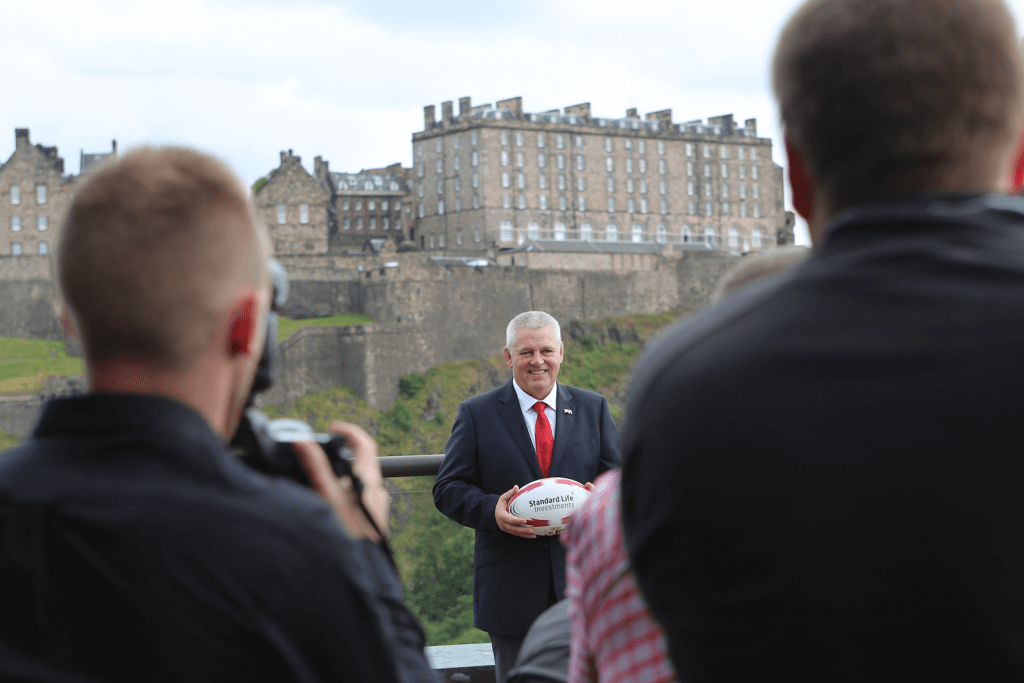 Gatland facing media scrum (Photo by Terry Murden)