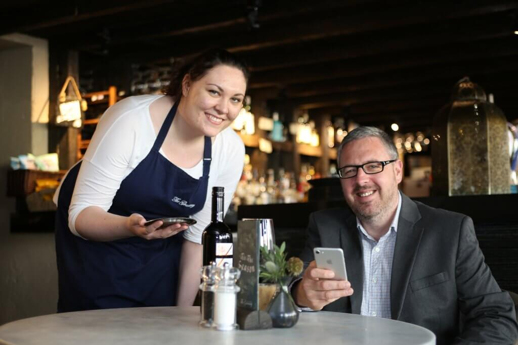 Mark with Katy Lang, waitress at The Granary, Leith (photo by Terry Murden)