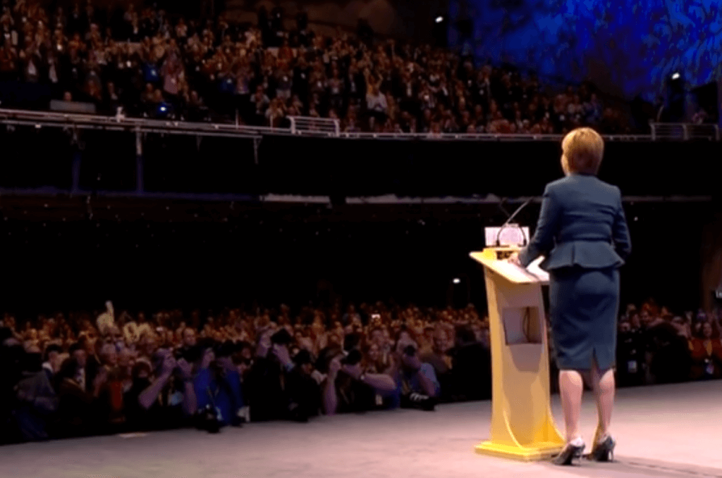 Nicola Sturgeon addresses a packed Glasgow conference hall