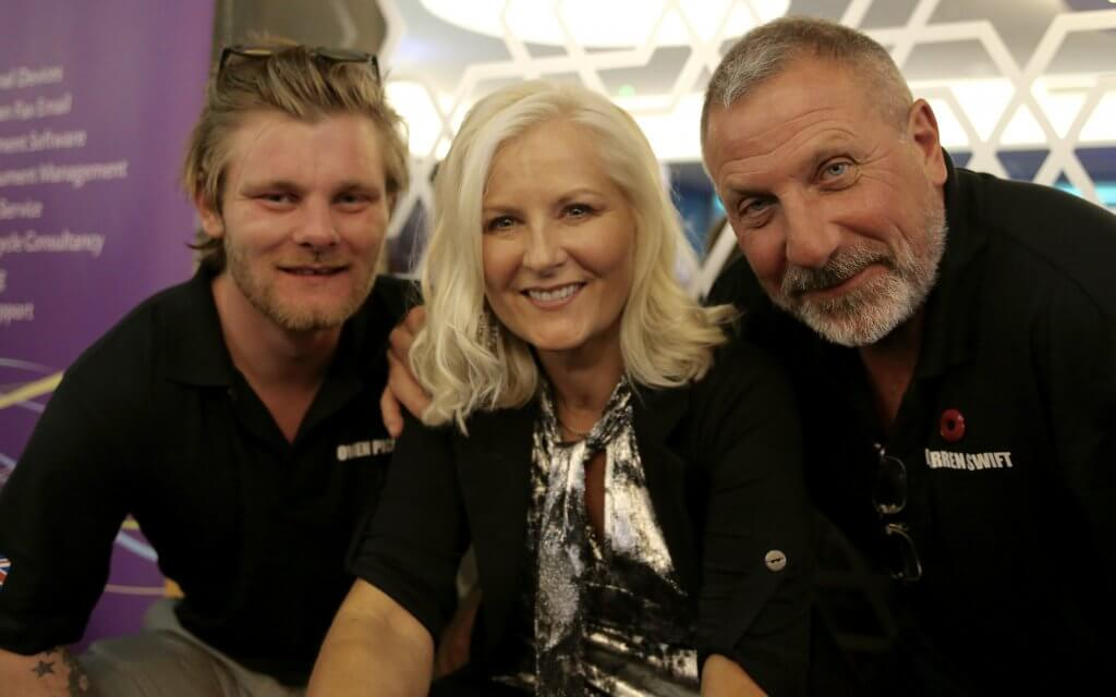 Photo: Television and radio sports presenter and host Alison Walker flanked by Owen Pick and Darren Swift (photo by Terry Murden)