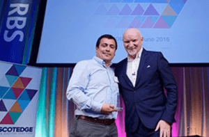 Carlos Labra at the Scottish Edge event with Sir Tom Hunter