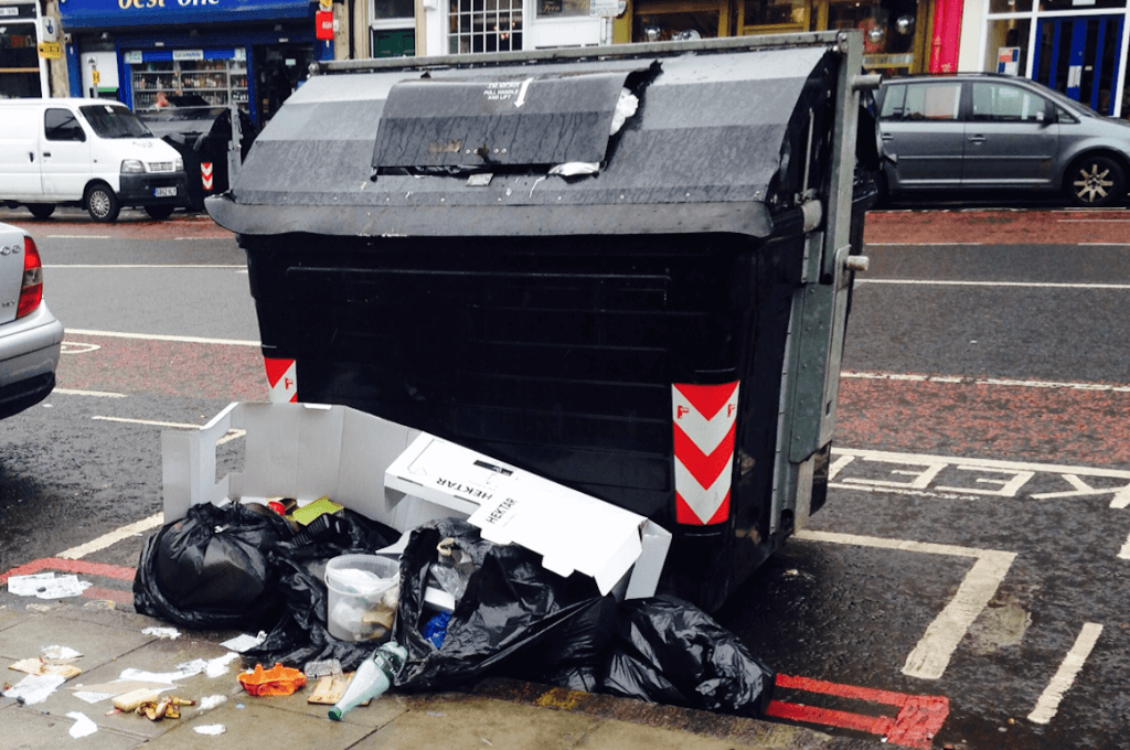 Overflowing bins are a common sight