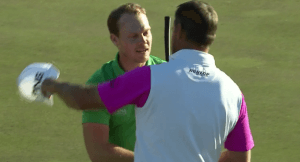 Danny Willett is congratulated by Lee Westwood