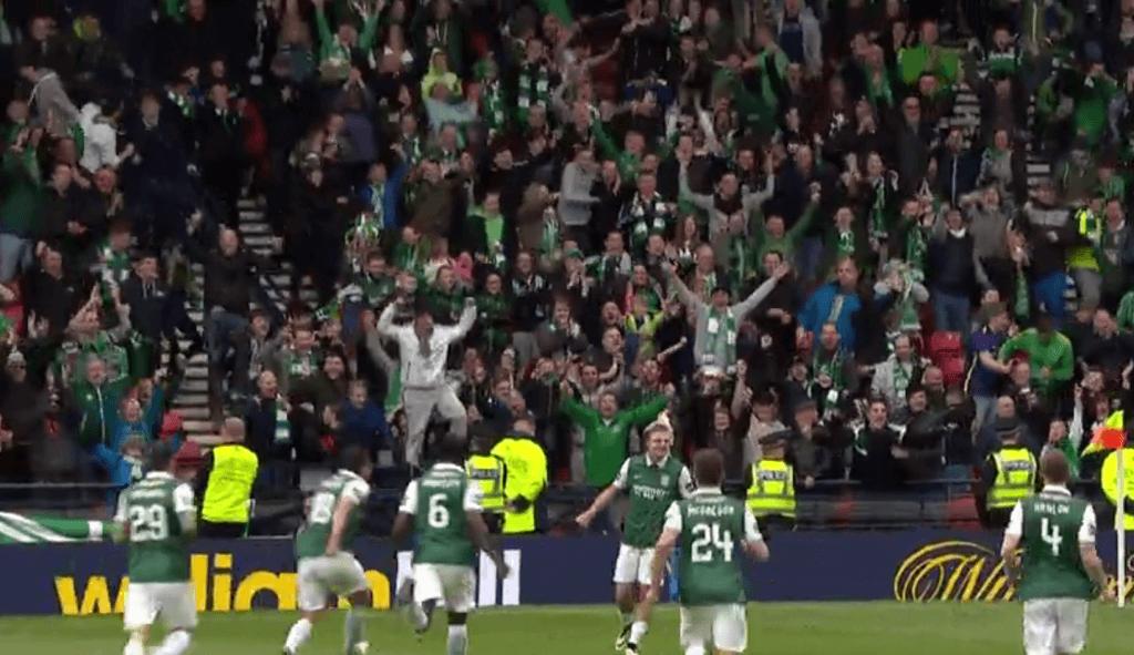 Hibs celebrate v Dundee Utd Cup SF