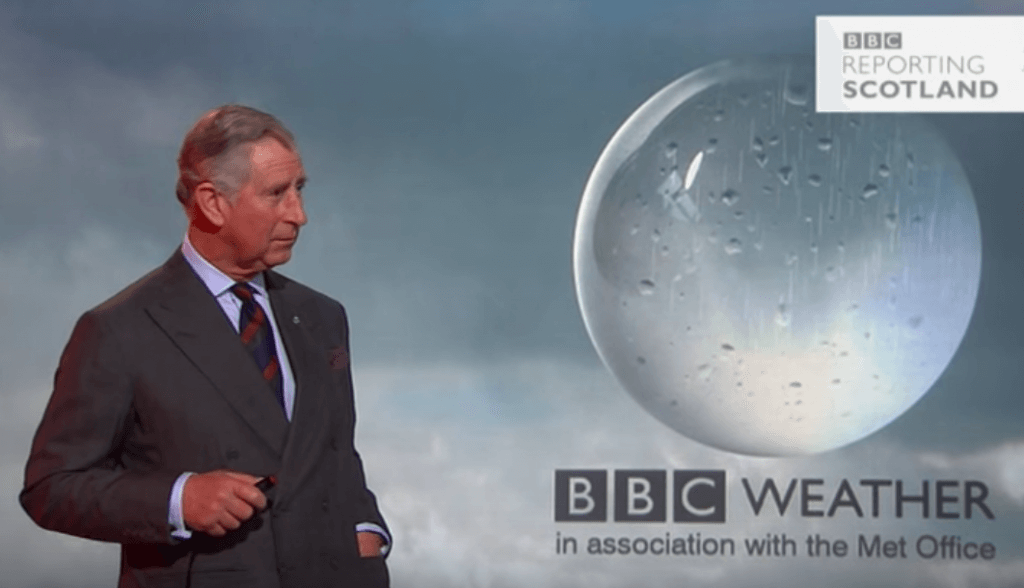 Prince Charles presented a BBC forecast during a visit to Scotland