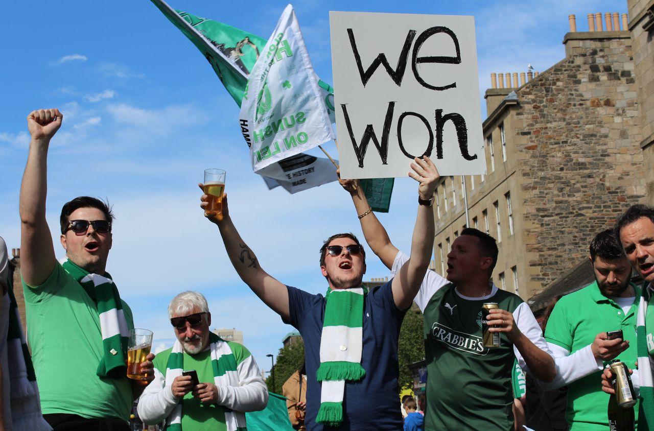 Hibernian fans celebrate Cup win (pic: Terry Murden)
