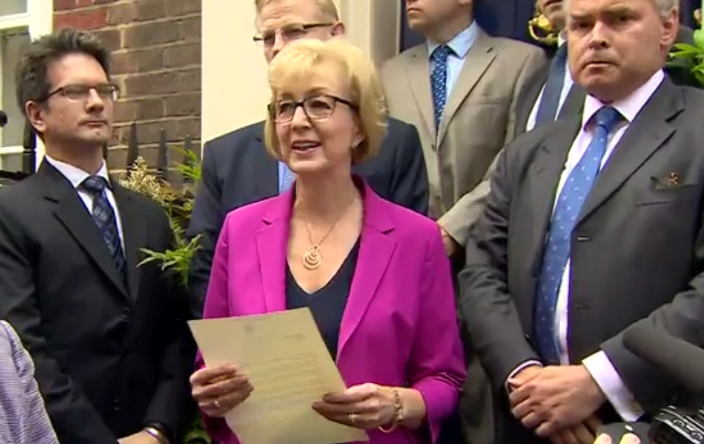 Andrea Leadsom reads withdrawal letter (BBC)