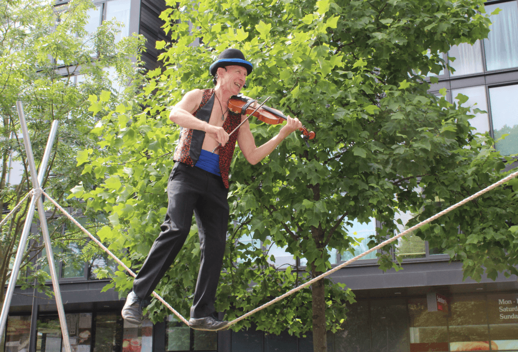 Circus performer Kwabana Lindsay in Meadow Walk (Photo by Terry Murden)