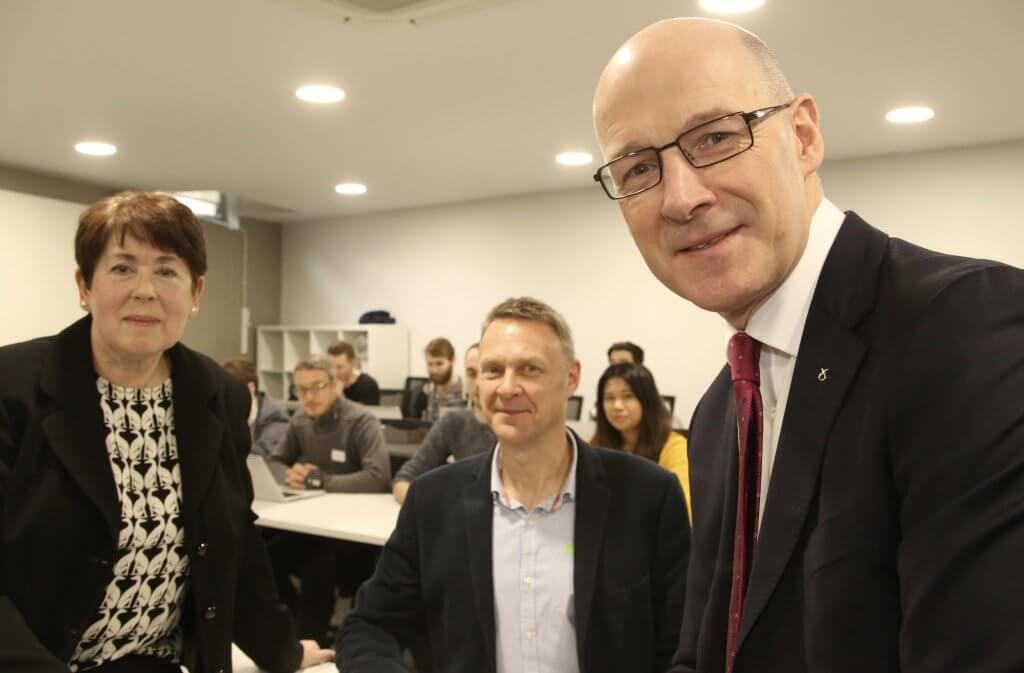 Polly Purvis, Harvey Wheaton and John Swinney at CodeClan (photo by Terry Murden)