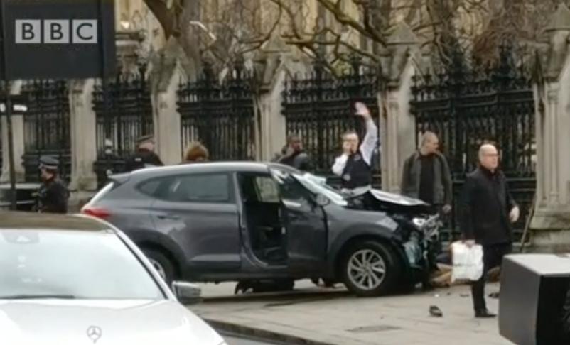 Terror car crashes into railings