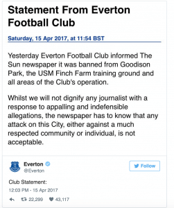 Everton tweet