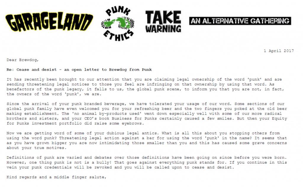 letter to BrewDog