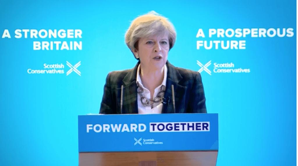 Theresa May Scots Tory manifesto launch