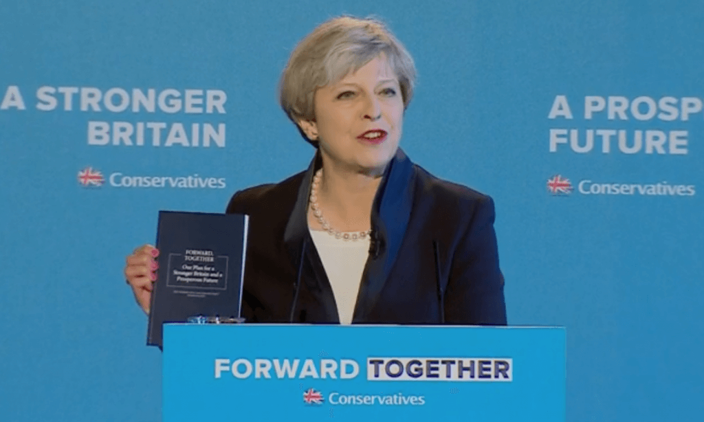 Theresa May unveils manifesto