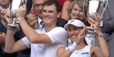 Jamie Murray and Martin Hingis with mixed doubles trophies