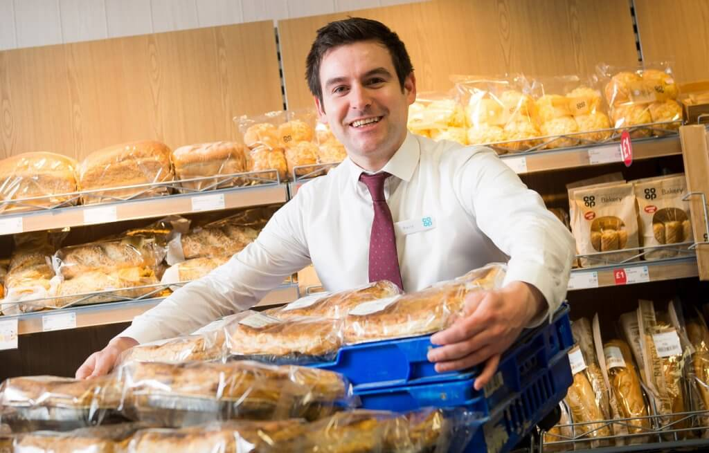 Pitlochry store manager, Barry Jardine, with Stuarts of Buckhaven pies