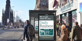 Bus shelter advert in situ