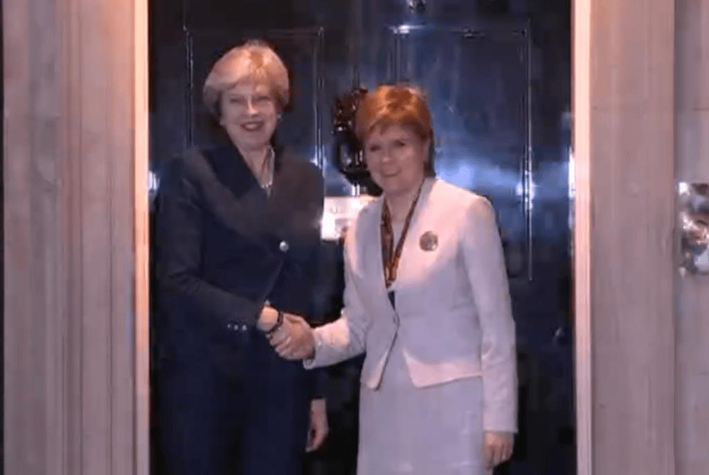 Sturgeon and May at Downing Street