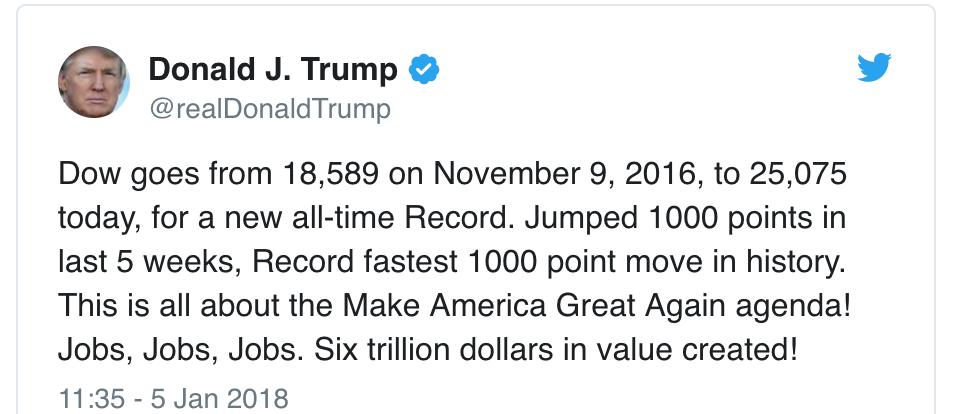 Donald Trump tweet on stock market