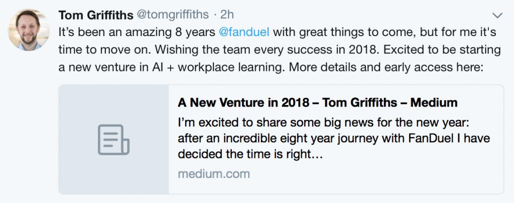 Tom Griffiths tweet