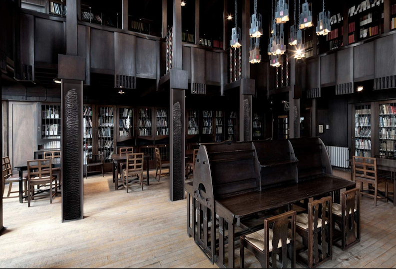 Historic library at Glasgow School of Art