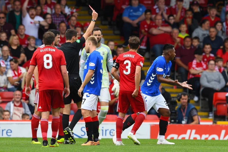 Alfredo Morelos is red carded against Aberdeen