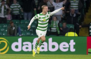 Leigh Griffiths celebrates his 100th goal for Celtic