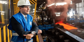 Derek Mackay at Dalzell steel works Motherwell