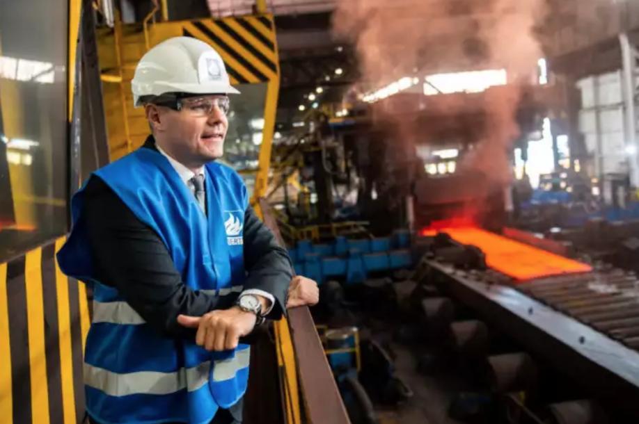 Derek Mackay at Dalzell steel works Motherwell