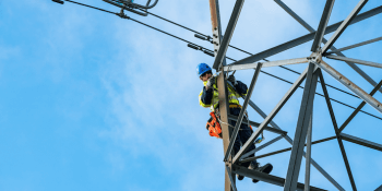 Engineer working on power lines