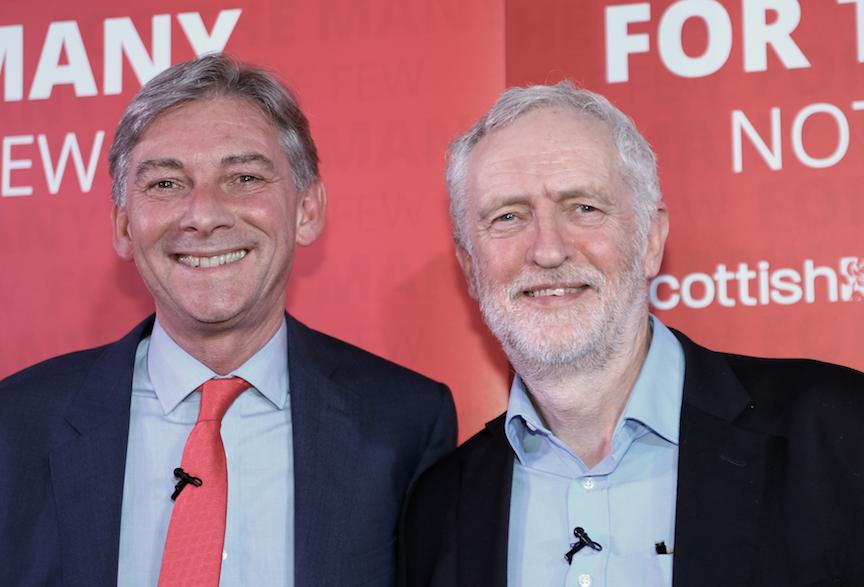 Richard Leonard and Jeremy Corbyn at Penicuik