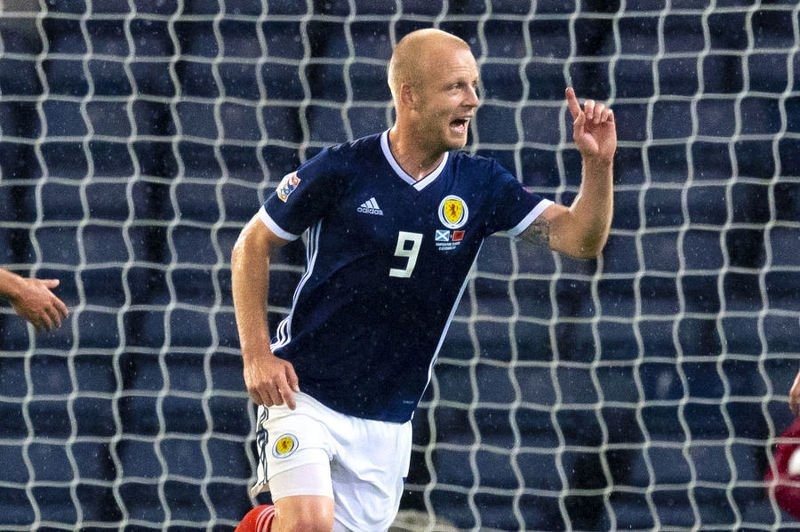 Steven Naismith celebrates scoring Scotland's second goal in the 2-0 win over Albania in the Nations League