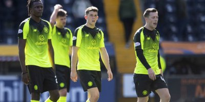 Celtic players troop off after losing to Kilmarnock at Rugby Park