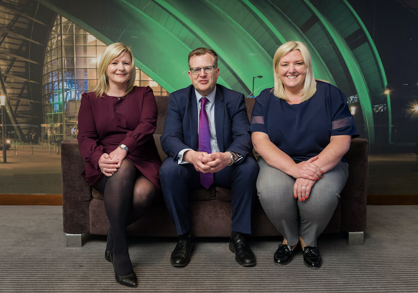 Jacqueline Dobson (MD of Barrhead Travel), Stuart Taylor (CFO of TLG UK), Sharon Munro (President of Barrhead Travel)