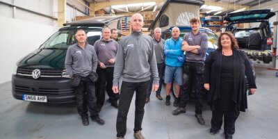 Founder Simon Poole and some of his Jerba Campervans employees