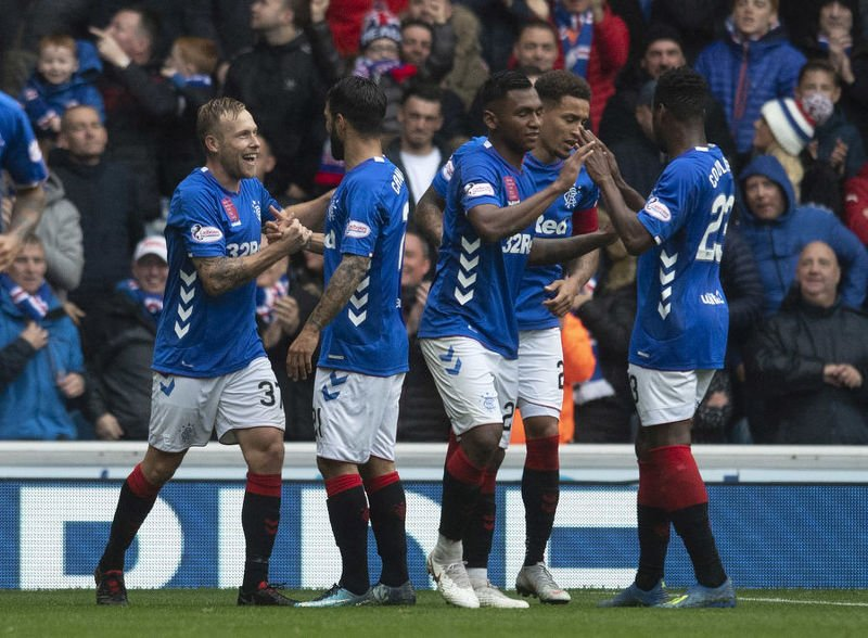 Rangers celebrate Scott Arfield's goal in the 3-1 win over Hearts at Ibrox