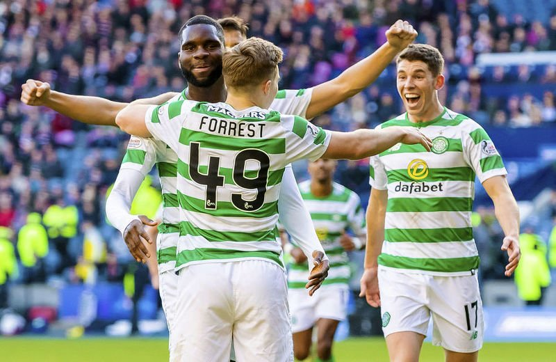 Ryan Christie and James Forrest celebrate Celtic's second goal against Hearts at Murrayfield.