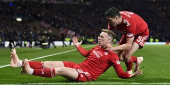 Lewis Ferguson celebrates his winning goal against Rangers for Aberdeen in the League Cup semi-final