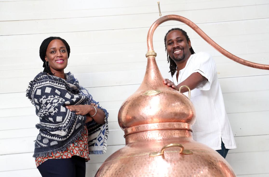 Matugga Distillery, Jacine & Paul Rutasikwa at rum distillery