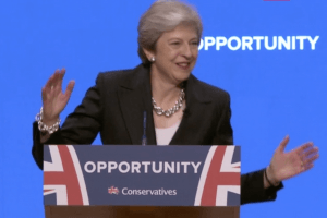Theresa May dancing on stage 1
