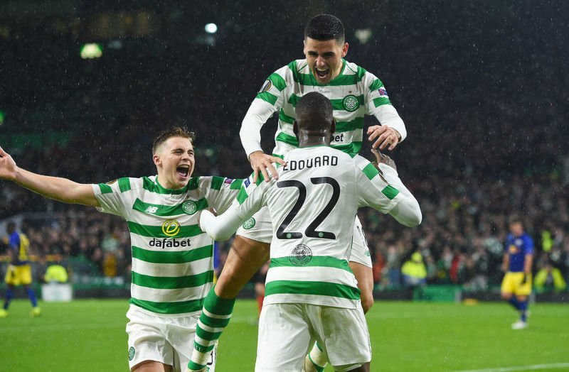 Celtic's Odsonne Edouard celebrates his late goal with James Forrest and Tom Rogic