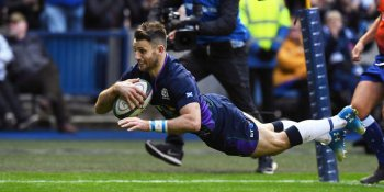 Scotland's Tommy Seymour celebrates scoring his sides third try of the afternoon against Fiji