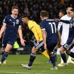 James Forrest celebrates his hat-trick against Israel in the Nations League